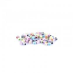 Assort. cubes alphabet pastel 20g