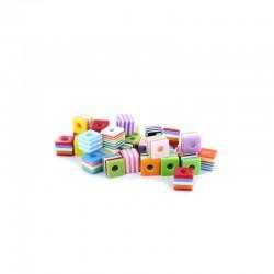 Assort. Multi-coloured cubes beads 30g