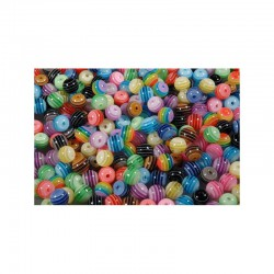 Plastic Beads 16mm Striped - 50gr - ±20 beads