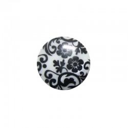 Cabochon nacre 24mm fleur baroques noir et blanc x 4pcs