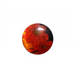 Cabochon nacre 24mm fleurs rouge sur fond noir x 4pcs