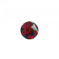 Cabochon nacre 16mm x 6pcs fleurs rouges