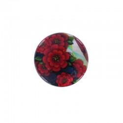Cabochon nacre 24mm x 4pcs fleurs rouges