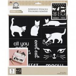 Adhesive stencil cat, 21.59 x 24.13 cm