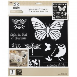 Adhesive stencil Birds, Bees & more, 21.59 x 24.13 cm