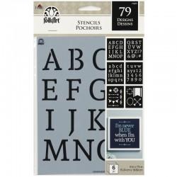 Pochoir Alphabet Serif 6 pcs, 15 x 19.7 cm