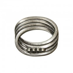 Oval ring 35x30mm° 4 sml ring on back, antique silver 10pcs