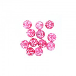 Glass round bead 12mm printed circles 12pcs. Hot pink