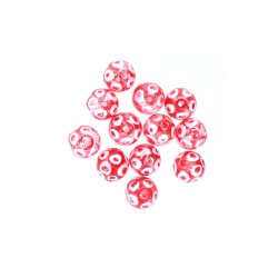 Glass round bead 12mm printed circles 12pcs. Red
