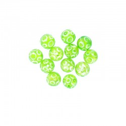 Glass round bead 12mm printed circles 12pcs. Lime