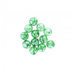 Glass round bead 12mm printed circles 12pcs. Green