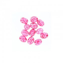 Glass olive bead 12mm printed circles 12pcs. Hot pink