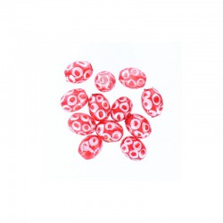 Glass olive bead 12mm printed circles 12pcs. Red