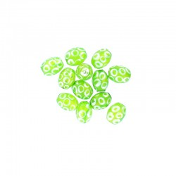 Glass olive bead 12mm printed circles 12pcs. Lime