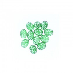 Glass olive bead 12mm printed circles 12pcs. Green