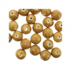 Round ceramic beads 14mm 21pcs. Beige