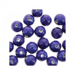Round ceramic beads 14mm 21pcs. Dark blue