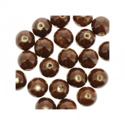 Round ceramic beads 14mm 21pcs. Brown