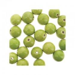 Round ceramic beads 14mm 21pcs. Olive