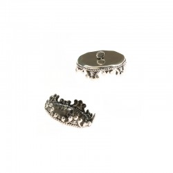 Top 15mm for glass ball 25mm 2 rings, anti.silver 6pcs