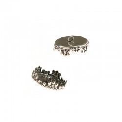 Chapeau 15mm pour boule verre 25mm 2 anneaux vx argent 6pcs