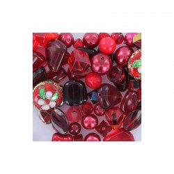 Pillow box +-50gr 35-55 quality small beads red