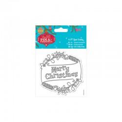 4 x 4'' Clear Stamp - Folk Christmas - Merry Christmas