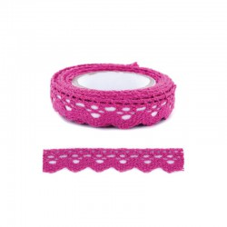 Adhesive Lace tape - 15mm x 2m border hot pink