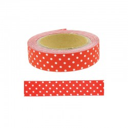 Adhesive fabric tape - 15mm x 4m Dots red