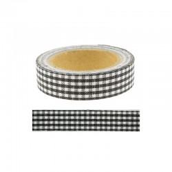 Adhesive fabric tape - 15mm x 4m Gingham black°