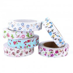 Set 6 adhesive fabric tapes floral