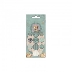 Mirabelle - Assorted wooden buttons blue 12pcs