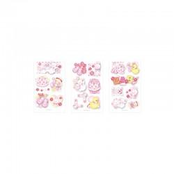 3D stickers 13x8cm pink baby (2x3 designs.ass.)