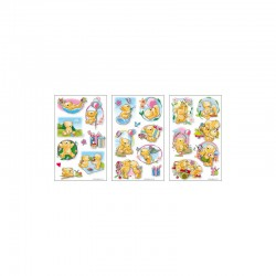 3D stickers 13x8cm teddies (2x3 designs.ass.)