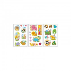 3D stickers 13x8cm cute animals (2x3 designs.ass.)