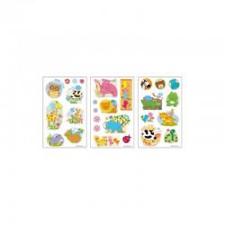 3D stickers 13x8cm cute animals (2x3 designs.ass.)