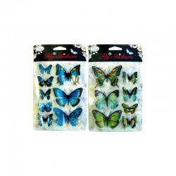 3D stickers 11x15cm butteflies blue/green (3x2 designs) °°