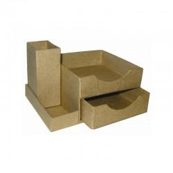 Set 10 desk pen + memo box 143x107x88mm