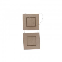 Double picture frame 18x18cm w/string°