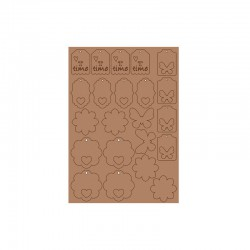 Embellishments kraft paper shapes 22pcs T-time