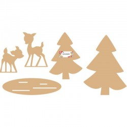 Dutch Doobadoo MDF Winter 2 Bambi 12-17 cm, 2 Trees 22-28 cm, supp