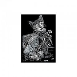 Mini engraving art.12,5x17,5cm silver. Tabby cat&kitten