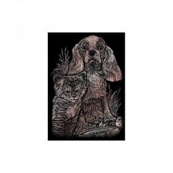 Mini engraving art.12,5x17,5cm copper. Kitten&puppy