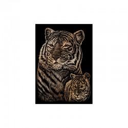 Mini engraving art.12,5x17,5cm copper. Tiger&cub