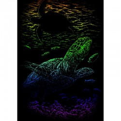 Mini engraving art.12,5x17,5cm rainbow. Undersea turtle