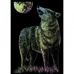 Carte à gratter mini 12,5x17,5cm Holographique Loup