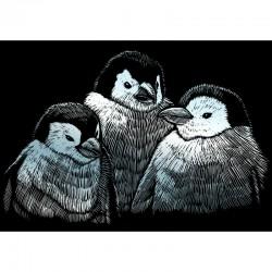 Carte à gratter mini 12,5x17,5cm argent Bébés pingouins