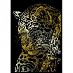 Carte à gratter mini 12,5x17,5cm doré Leopard