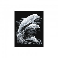 Engraving art.20,3x25,4cm silver. Dolphins