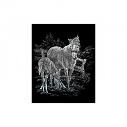 Engraving art.20,3x25,4cm silver. Mare&foal